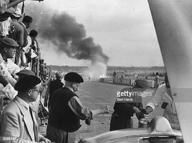 The scene of Pierre Levegh's fatal crash at the Le Mans 24 hour race Original Publication Picture Post 7852 MotorRacing Must Go On pub 1955