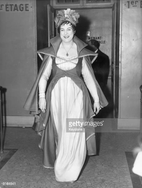 Italian soprano Renata Tebaldi in costume as Tosca backstage at the Paris Opera.