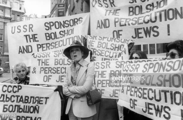 British actress Diana Rigg heads a protest against the treatment of Jews by the Russian Government, shortly before the Bolshoi Ballet begins...