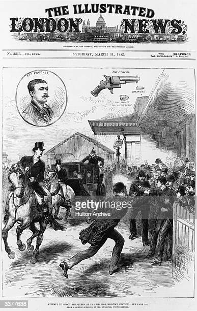 The front page of 'The Illustrated London News' depicting an attempt to shoot Queen Victoria at Windsor Railway Station