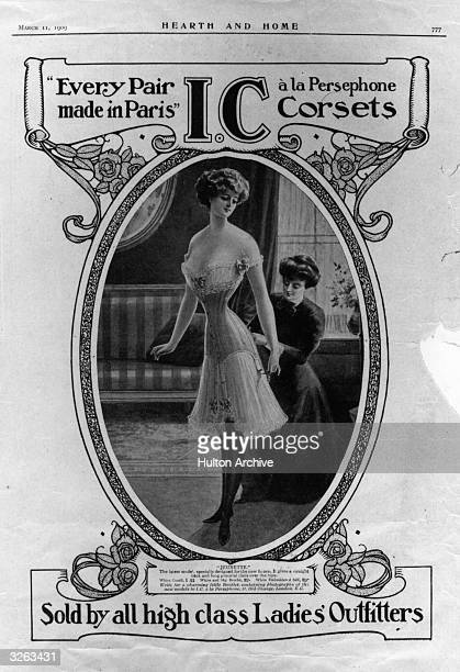 An advertisement for the Jeunette corset 'a la Persephone', which gives a straight back and graceful lines over the hips. Hearth And Home - pub. 1909