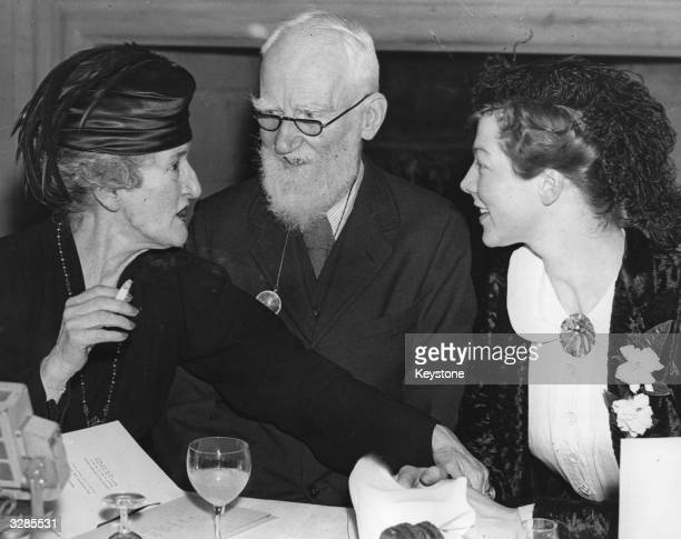 Society figure Lady Asquith, Irish writer and intellectual George Bernard Shaw and actress Dame Wendy Hiller , who is playing Eliza Doolittle in...