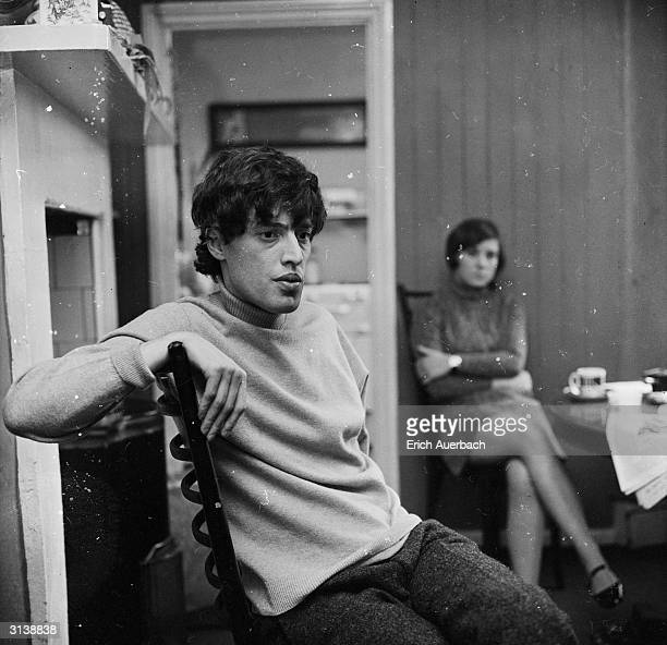 Playwright Tom Stoppard at home with his first wife Jose.