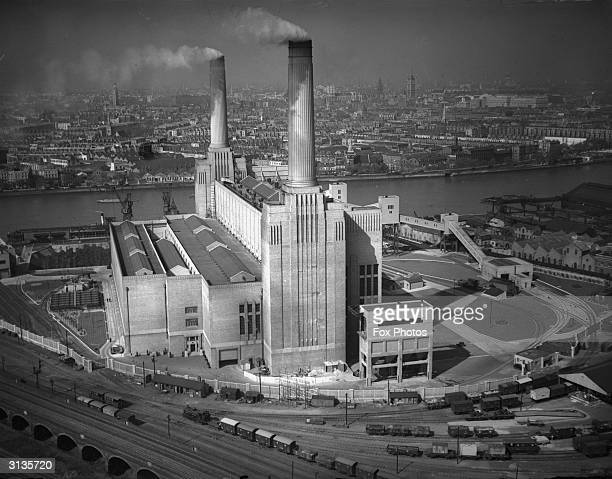 Battersea Power Station on the River Thames in London designed by architect Giles Gilbert Scott The other two towers were not added until 1953...