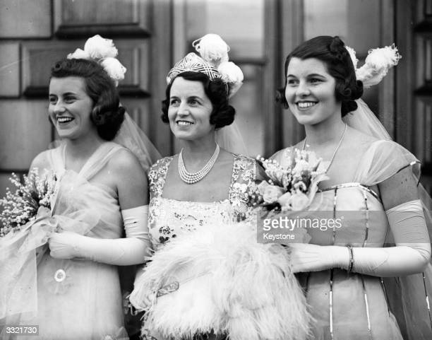 Rose Kennedy , wife of multi-millionaire and US ambassador to Britain Joseph Kennedy, and two of her daughters, Kathleen Kennedy and Rosemary Kennedy...