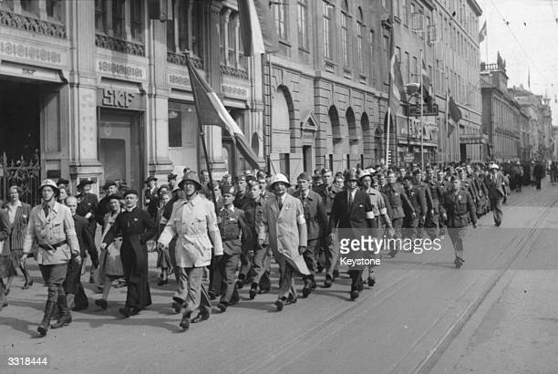 Liberated French prisoners marching through the streets of Copenhagen, Denmark.
