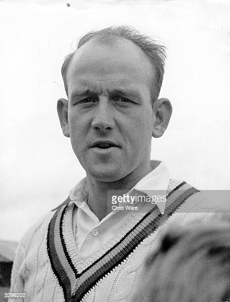 Frank Tyson the famous England fast bowler wearing his Northamptonshire jersey