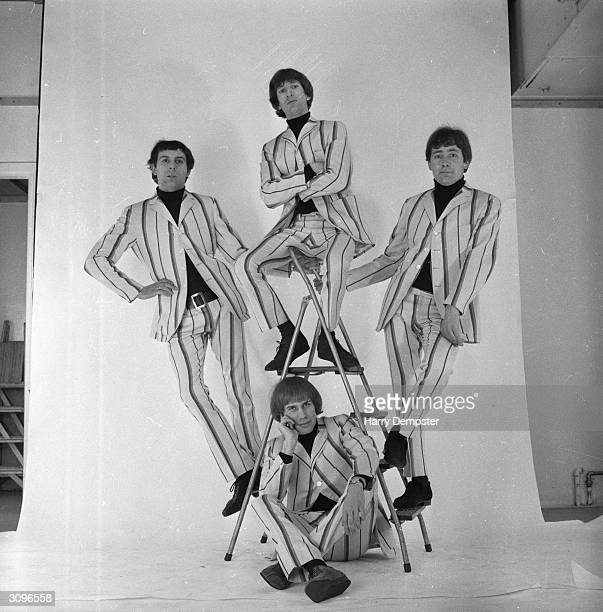 The British pop band 'The Troggs' Reg Presley Chris Britton Peter Staples and Ronnie Bond wearing suits from John Stephen of Carnaby Street London
