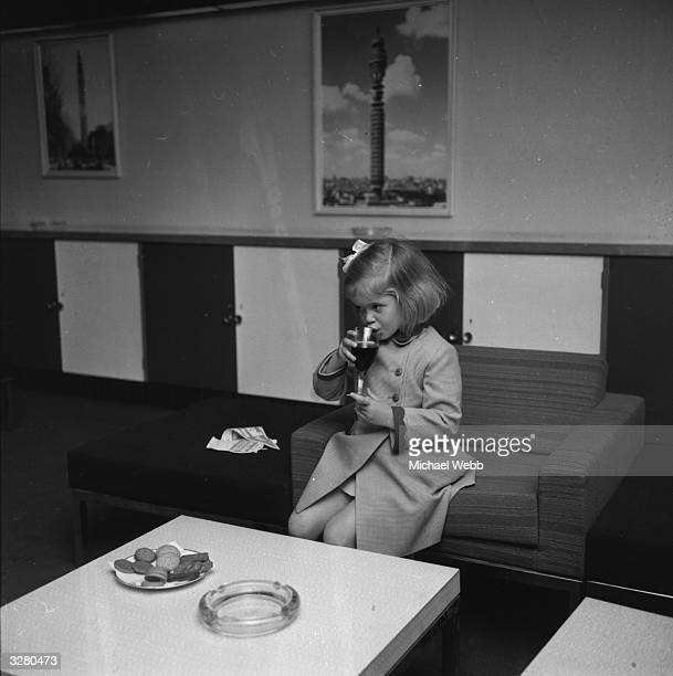 Lady Helen Windsor the daughter of the Duchess of Kent is having a soft drink at the Post Office Tower
