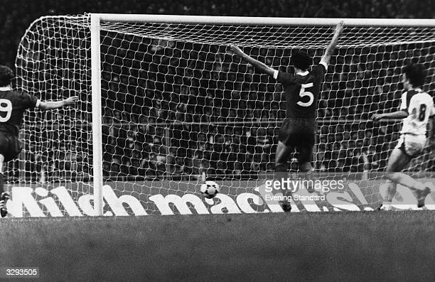 Ray Kennedy salutes Kenny Dalglish's winning goal as Liverpool win the European Cup with a 10 victory over FC Bruges in the European Cup final at...