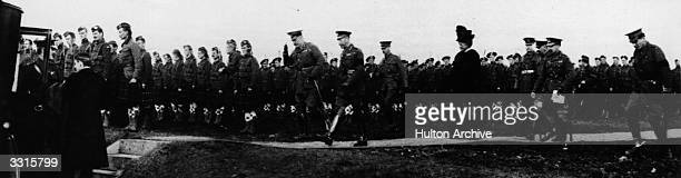 King George V and Lord Kitchener inspect Canadian and Canadian Highlander troops on Salisbury Plain England Original Publication Illustrated War News...