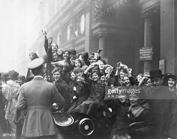 Crowds celebrating the armistice in London, at the end of World War I.