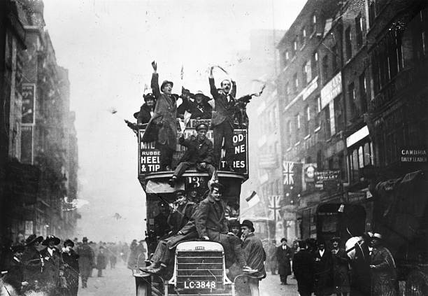 Crowds celebrating the signing of the Armistice at...
