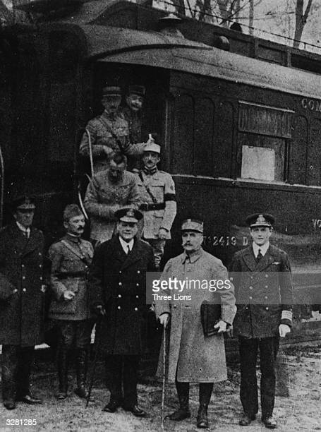 Military leaders including Marshal Foch outside the railway carriage where the First World War Armistice was signed