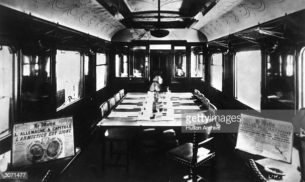 The interior of Marshall Ferdinand Foch's railway carriage in which the armistice was signed at Compiegne