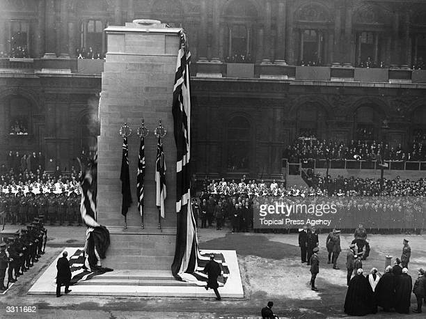 King George V at the unveiling of the Tomb of the Unknown Warrior at the Cenotaph in Whitehall, London.