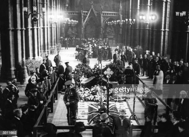 The Tomb of the Unknown Warrior lying in state in Westminster Abbey.