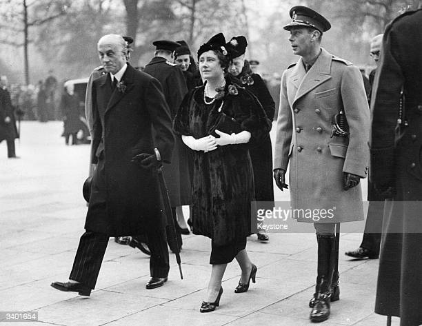 British politician Sir Samuel Hoare with King George VI and Queen Elizabeth The Queen Consort