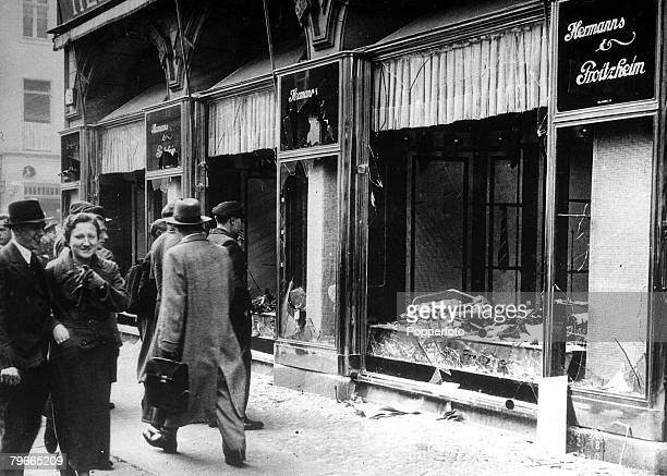 11th November 1938 Berlin Germany Jewish Persecution Orgy of destruction as antijew frenzy sweeps Germany The wrecked and pillaged windows of a...