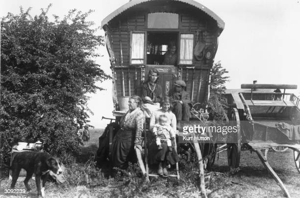 A group of gypsies in their caravan Original Publication Picture Post 228 Wigan pub 1939