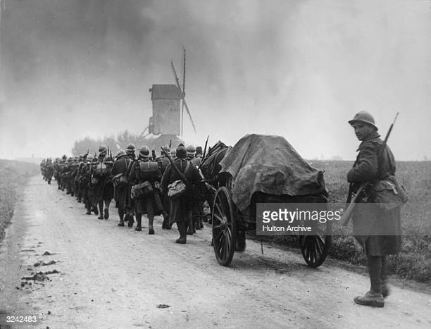 French infantry on the march in France