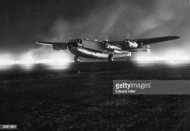A British Overseas Airways Company York aircraft prepares to take off at Blackbushe Airport in Surrey to assess pilot and passenger reactions to Fido