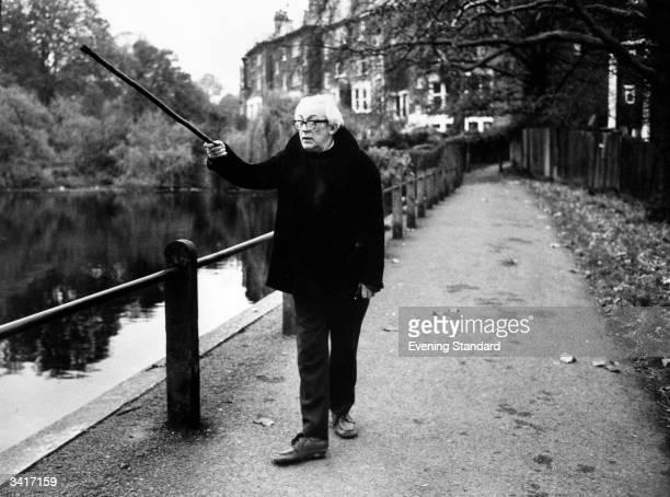 British statesman Michael Foot walking on Hampstead Heath north London