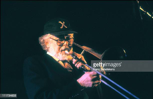 11th NOVEMBER: Trombone player Roswell Rudd performs live on stage at the Jazzmarathon in Groningen, Netherlands on 11th November 1996.