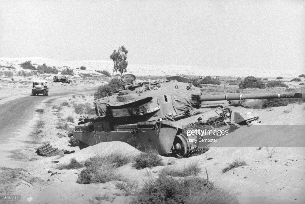 A tank destroyed in the Sinai desert during the Yom Kippur War.