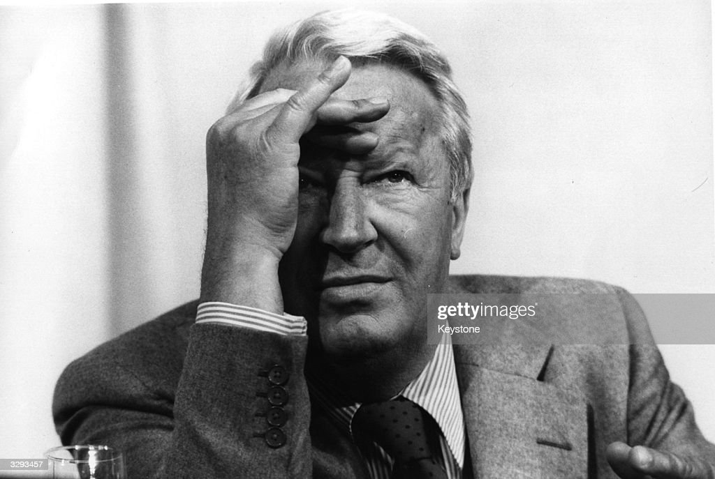 Edward Heath in a serious mood at the Tory Party Conference.