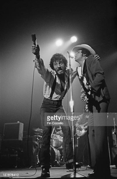 Bruce Springsteen and Steven Van Zandt from the EStreet band perform live on stage at the Carlton Theatre in Red Bank New Jersey USA during the Born...