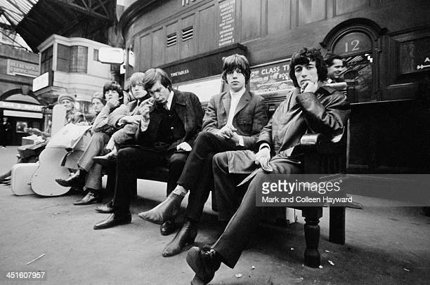 English rock and roll group The Rolling Stones posed at Victoria station in London on 11th October 1964 Left to right Keith Richards Brian Jones...