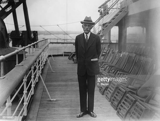 US financier philanthropist and statesman Andrew William Mellon on board the Berengaria at Southampton He served as US ambassador to Britain 193233