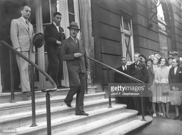 King Zog of Albania leaving the Ritz Hotel on the occasion of a visit to London. He and his family are touring friendly countries in Europe after...