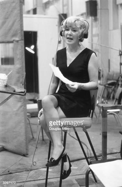 British singer Kathy Kirby singing at EMI recording studios London where she is recording an album