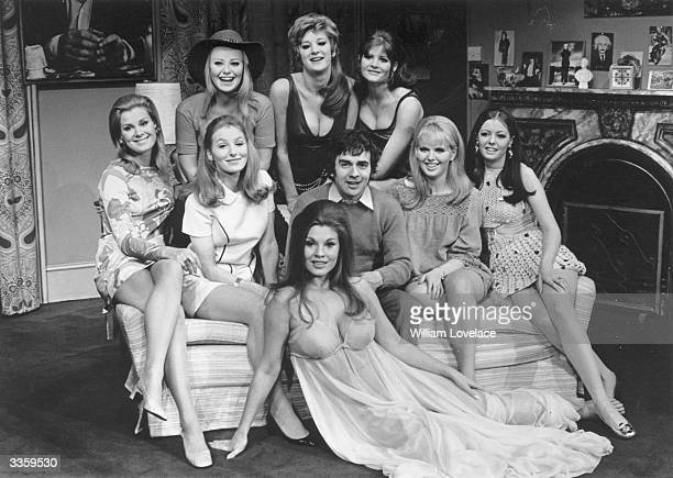 British actor Dudley Moore with some of his female costars from the play 'Play It Again Sam' Angela Ryden Juliet Kempson Gillian Lake Lorna Heilbron...