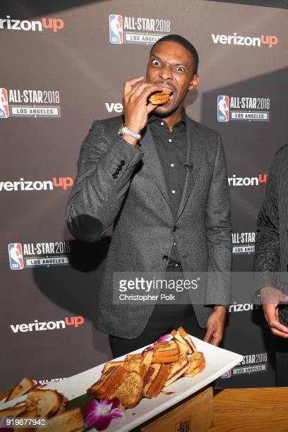 11time NBA AllStar and NBA Champion Chris Bosh enjoys gourmet PBJs at the Verizon Up Members Lounge during 2018 NBA AllStar Weekend on February 17...