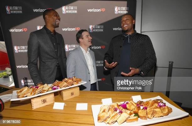 Time NBA All-Star and NBA Champion Chris Bosh, ESPN Sports Analyst Darren Rovell and 10-time NBA All-Star and NBA Champion Paul Pierce enjoy gourmet...