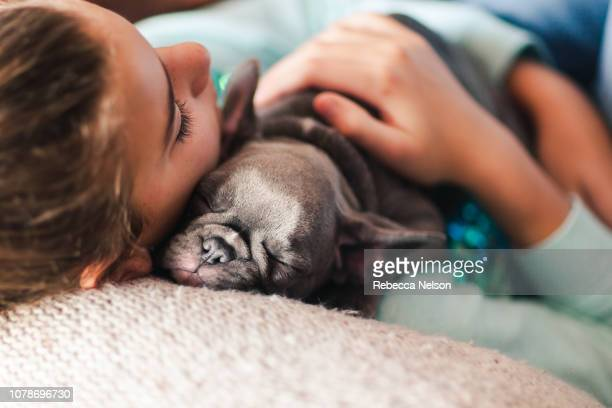 11-year-old girl and French Bulldog puppy sleeping on couch
