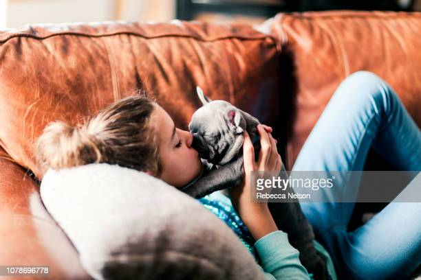 11-year-old girl lying on sofa kissing a French Bulldog puppy