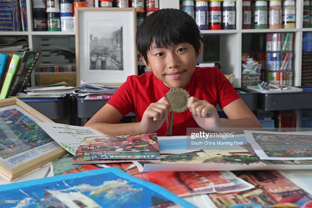 11-year-old Kenny Lau Kin-gi, the youngest artist at 2017 Art Next