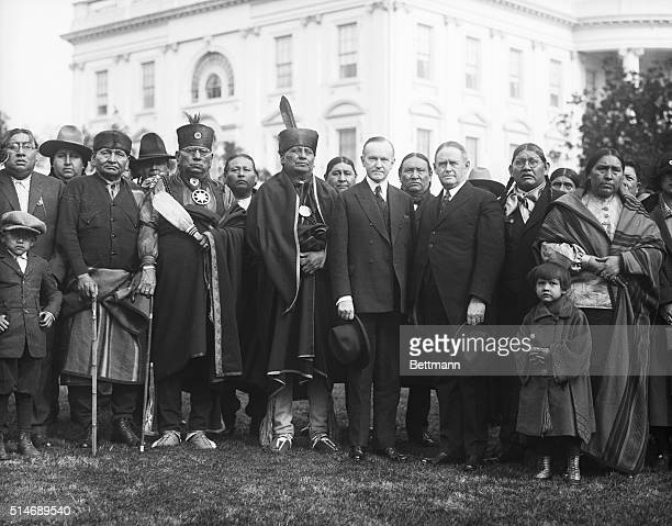 Washington, DC: Osage Indians in Washington regarding their oil lands in Oklahoma were presented to the President Saturday by Indian Commissioner...