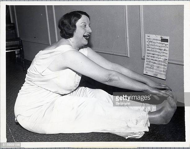 1/20/1933Chicago Illinois Singing as she goes thru her exercses Hope Emerson the amazon of the American stage shows how she retains her girlish...