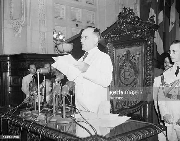1/20/1942Rio de Janeiro BrazilStanding before the assembled delegates and the microphones massed on his desk President Getulio Vargas of Brazil his...
