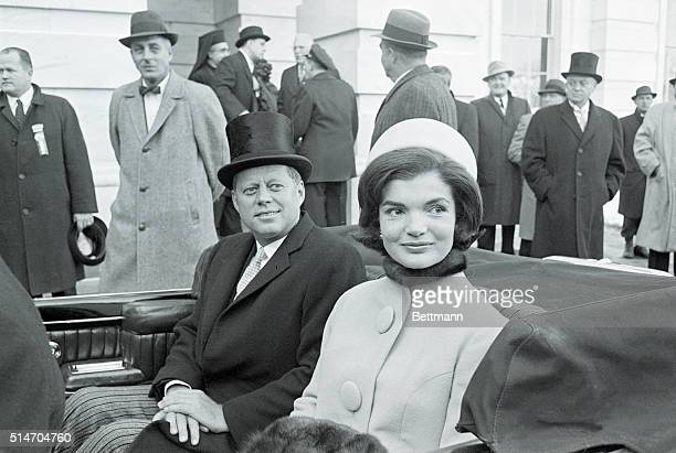 Washington, DC-MArried couple, US President John F Kennedy and First Lady Jacqueline Kennedy leave the capital building by car shortly after the...