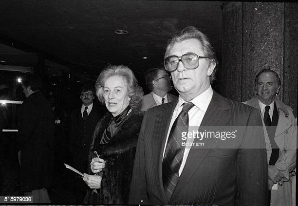 Veteran actor Robert Mitchum and his wife arrive at the theater for the premiere of his new film That Championship Season