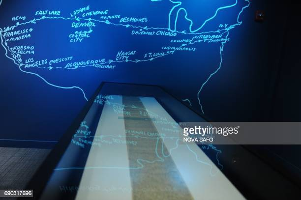 A 120foot scroll on which author Jack Kerouac wrote his novel On the Road is displayed at the American Writers Museum on May 25 2017 A firstofitskind...