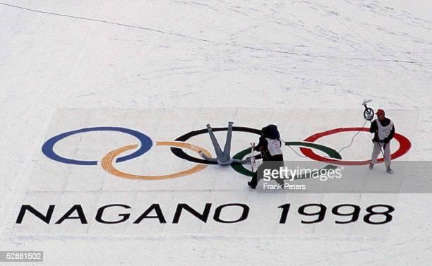 NAGANO 1998 EINZELSPRINGEN 120m SCHANZE BRONZE Masahiko HARADA JUBEL auf den OLYMPISCHEN RINGEN