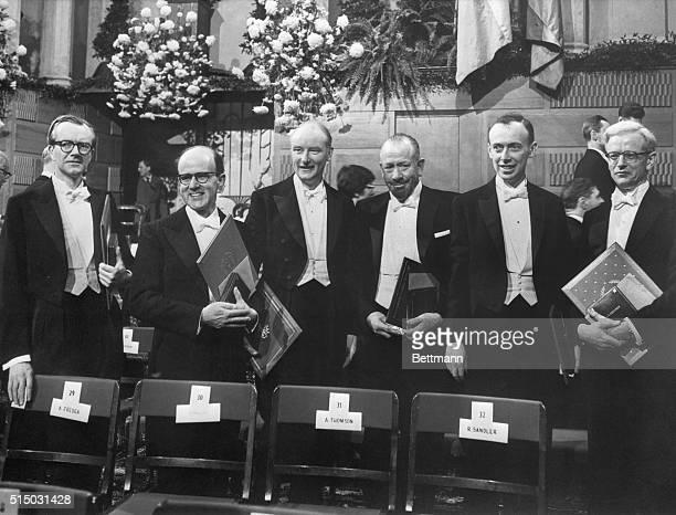 Stockholm Sweden Dressed in formal attire winner of 1962 Nobel Prizes display their diplomas after formal ceremonies in Stockholm's Concert Hall They...
