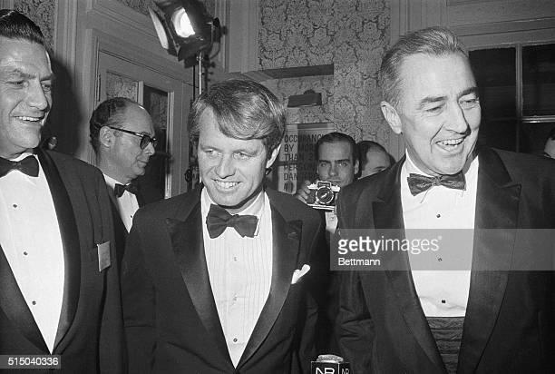 New York, NY- Thrown together late December at a Democratic fun raising dinner here are New York's Senator Robert F. Kennedy and Senator Eugene J....